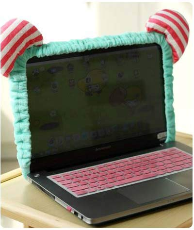 ADSIKOOJF Leuke Kitty Kat Cartoon Elastische Laptop Scherm Stofdichte Cover LED Computer Cover Set Anti-Dust Beschermende Case.Home Decoratie