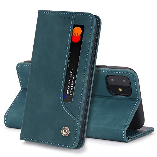 Funda Compatible con iPhone 11 Carcasa, iPhone 11 Fundas Cartera con Ranuras Tarjetas Cierre Magnético Cuero Flip Protector Antigolpes Tapa (iPhone 11, Verde)