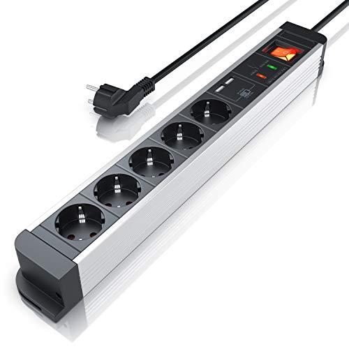 CSL - 5 fach Steckdosenleiste mit USB Ladegerät - bis zu 3680W - USB 5V - Kindersicherung - Wandmontage - integrierter erhöhter Berührungsschutz - Mehrfachsteckdosenleiste -Überspannungsschutz