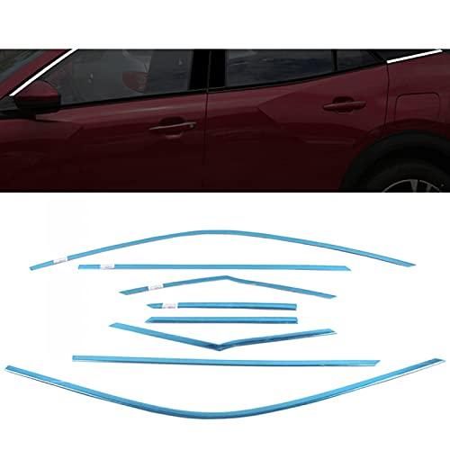 Hliybm para Peugeot 2008 2020 2021 Puerta Lateral de Acero Inoxidable Marco de alféizar de Ventana Completo y Pegatina de Pilar Central embellecedor Estilo de Coche