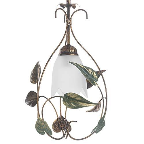 Onli Mira - Lámpara de techo, cristal color marfil degradado ámbar, estructura de metal marrón cepillado dorado, hojas de color verde
