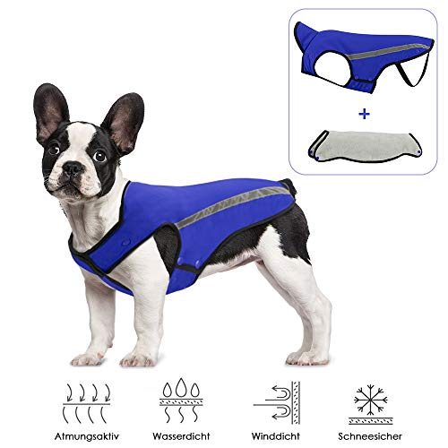 SlowTon Hunde Winterjacke, Hundemantel Einstellbare Hals und Brustgröße Haustier Weste mit Reflektierenden Streifen Wasserdicht Hundepullover Schneeanzug Warm halten