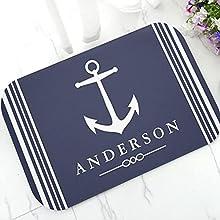 N/A Elegante Ancla náutica Barco Azul Marino Rayas Personalizado Felpudo Moderno Personalizado tu Barco Nombre Puerta Alfombra Alfombra decoración 16'x24'