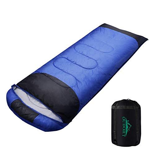 Oudort Schlafsack für Erwachsene und Kinder, Leichter und wasserdichter 4-Jahreszeiten-Outdoor-Schlafsack mit Kompressionssack für Camping/Reisen/Wandern/Rucksacktouren Links