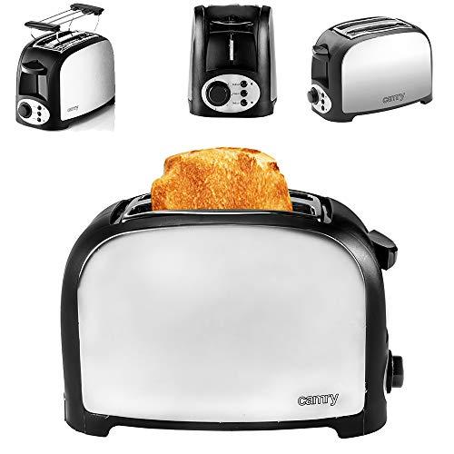 Toaster Sandwich Brötchenaufsatz Krümelschublade 2 Scheiben Edelstahl 750W CAMRY