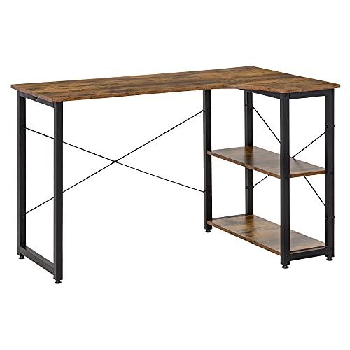 HOMCOM L-Shaped Computer Desk Home Office Corner Desk Study Workstation Table with 2 Shelves, Steel Frame, Rustic Brown
