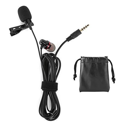 Fournyaa Micrófono antiinterferencias de Alta sensibilidad Micrófono Core Lavalier, micrófono 2 en 1 con Auriculares, para Canto, transmisión en Vivo y grabación de Video(Microphone + Headset)