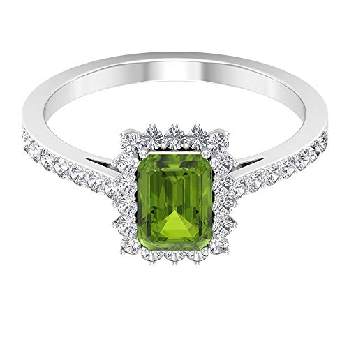 1 Ct 7X5mm Octagon Peridot Solitaire Ring, Vintage Engagement Ring, 1/2 Ct HI-SI Diamond Halo Sidestone Ring, August Birthstone Ring, Statement Ring, 14K White Gold, Size:UK W