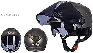 Leoie Unisex Summer Motorcycle Helmet Double Lens Sunscreen Half Helmet Gray Transparent