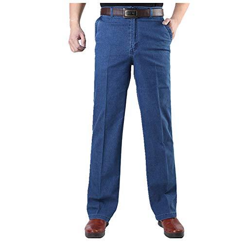N\P Pantalones vaqueros de los hombres de mediana edad Jeans hombre casual de gran tamaño de los hombres vaqueros de mezclilla cintura media recta color sólido pantalones largos