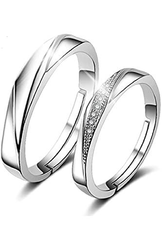 [RLYKAL(ルリカル)] ペアリング フリーサイズ カップル 指輪 リング 2個セット 結婚指輪 婚約指輪 オープンリング エンゲージリング レディース メンズ (ライト, フリーサイズ)