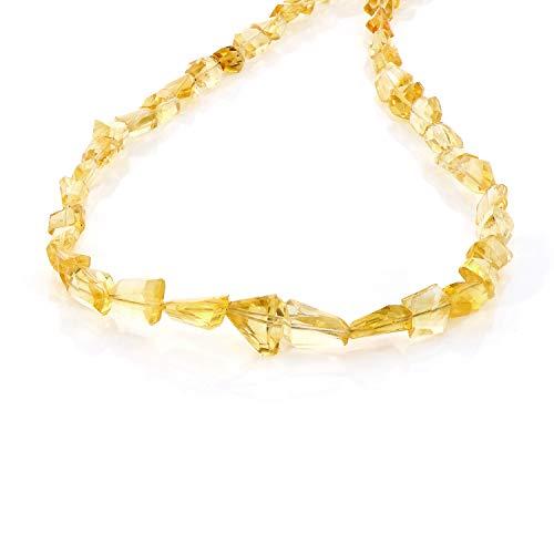 Citrin-Halskette, ovale Perlen, gelbe Farbe, Halskette, Geburtstagsgeschenk, Konfirmationsgeschenk, Geburtsstein November-Schmuck, Citrin-Schmuck
