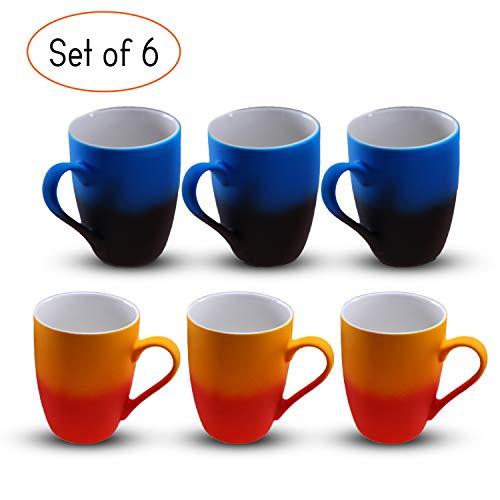Mia Mio - 6er Set Kaffeetassen Farbig 350ml / Bunt im Set mit Farbverlauf mit Geschenkbox (Jeweils 3 x Blau-Schwarz/ 3 x Rot-Orange)