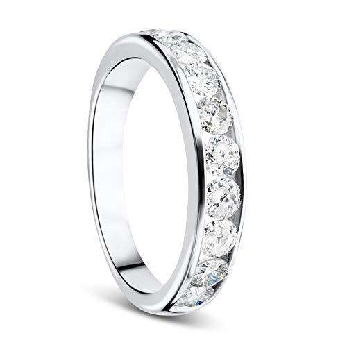 Orovi Damen Diamant Ring Weißgold, Ewigkeitsring Eternity Ring 9 Karat (375) Gold und Diamanten Brillanten 1.0 Ct, Ehering