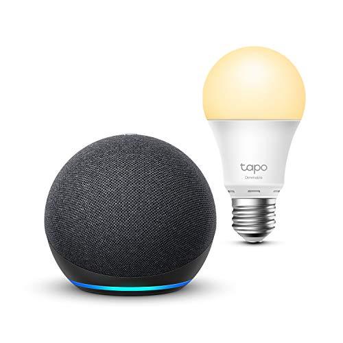 Echo Dot (4.ª generación), Antracita + TP-Link Tapo Bombilla Inteligente (E27), compatible con Alexa
