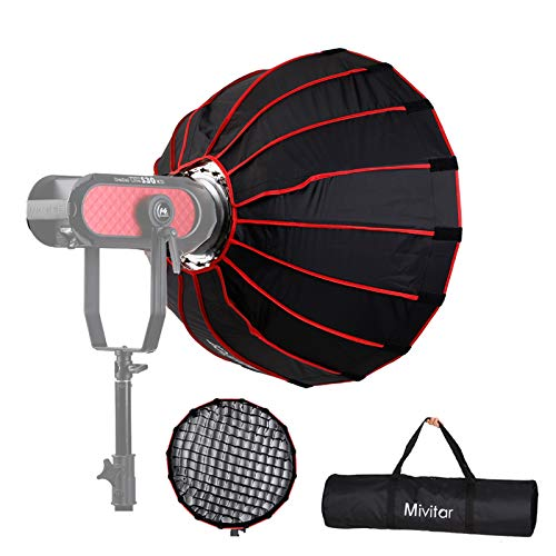 Mivitar 23.6inches/ 60cm Parabolic Umbrella Softbox,Quick-Setup Quick-Folding for Aputure,Falcon Eyes,Godox,FV and Other Bowen-S Mount Lights