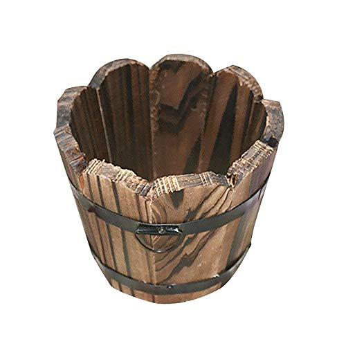 LQKYWNA Vaso di Fiori in Legno Carbonizzato, Retro Piccolo Secchio Rotondo per Fiori o Succulente, Decorazione della Casa in Stile Barile di Legno