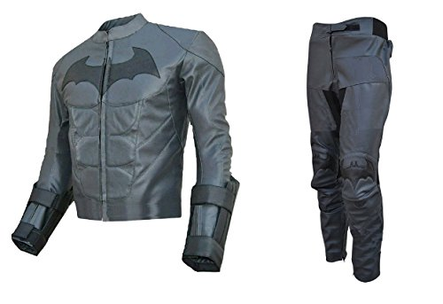 Bestzo Traje de Batman Dark Knight de Piel Real para Hombre Gris