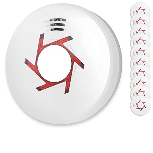Rauchmelder 10er Set inkl. 10X 9V Batterie Geprüft Nach Din EN14604 und BSI Zertifiziert 10 Stück Rauchwarnmelder Feuermelder Brandmelder Feueralarm