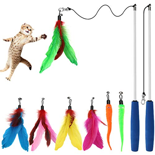 Cat Toys Interactive Cat Feather Wand, Kitten Toys 2pcs Retractable Cat Wand Toy & 7pcs Natural Feather Teaser Replacements with Bell, Telescopic Cat Fishing Pole Toy for Indoor Kitty Old Cat Exercise