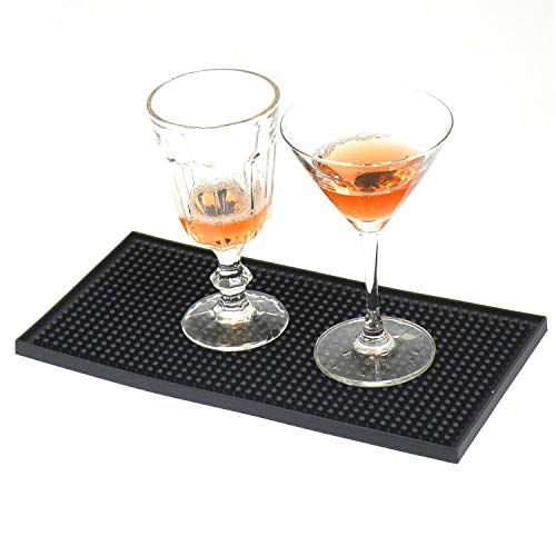 Bars Alfombrilla, Tapete de Bar in PVC, Guías de Barra de Bar, de Pie Tapete de Bar, Bar de Goma Encaje de Riel Deslizante de Vasos Negro 30 * 15cm