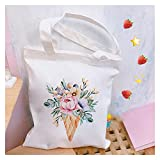 bolsa de lona Hermosa flor estampada damas bolsos Harajuku Aesthetics Lienzo Bolsa de asas Mujeres Eco Reutilizable Casual Shople Shopper Bolsas (Color : 1)