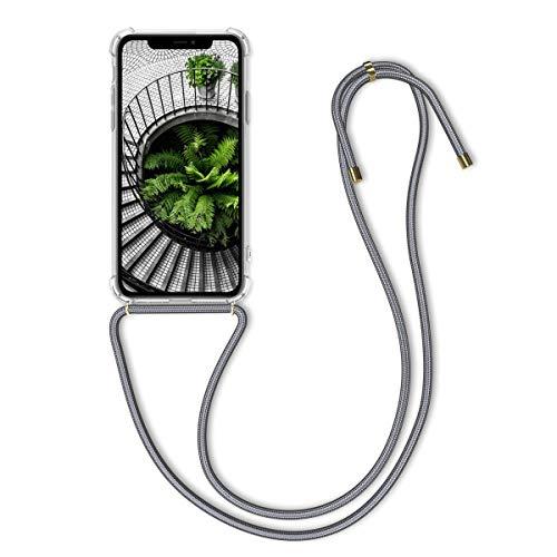 kwmobile Hülle kompatibel mit Apple iPhone 11 - mit Kordel zum Umhängen - Silikon Handy Schutzhülle Transparent Grau
