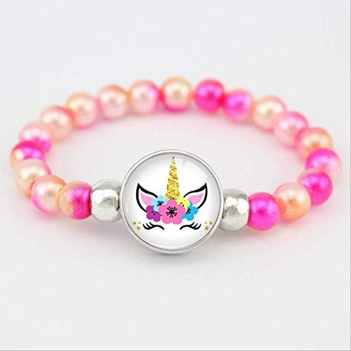 LUP Bracciali Unicorn Beads Bracelets 18Mm Snap Holder Buttons Dome Cabochon Flamingos Charms Trendy Bracelets Girls Women Boy Jewelry Gift  H17097