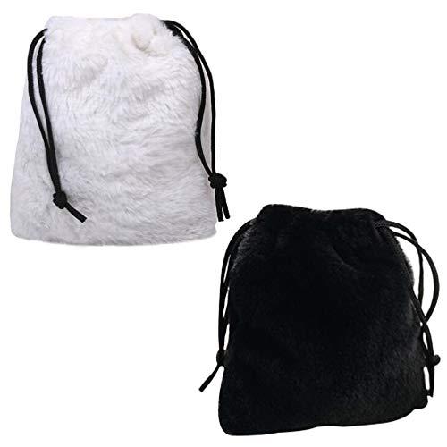 Amosfun Bolsa feminina transversal de pelúcia, bolsa de ombro, bolsa de ombro, bolsa de compras, para viagem, escola, negócios, escritório, trabalho, 2 peças
