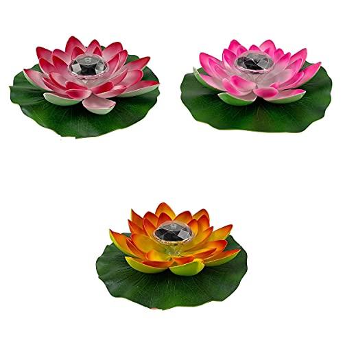 HUIKJI 3 piezas de loto ligero, funciona con pilas, flor de loto solar impermeable para piscina, paisaje de piscina con hoja de loto para patio, césped, pasarela, mesa, suelo de 11 pulgadas