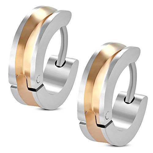 Bungsa Earrings with bicolor concave silver-rosegold - Stainless Steel for Women