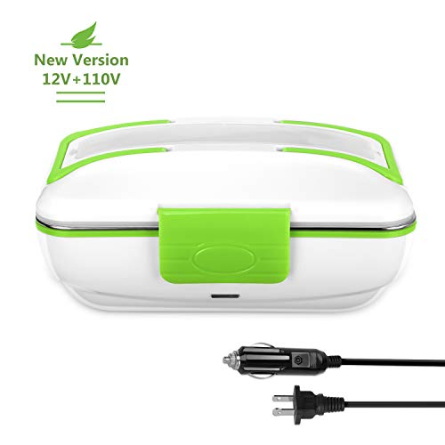 YOHOOLYO Electric Lunch Box Food Heater Portable Food Warmer for Both 12V Car and 110V Home Use with Removable Stainless Steel Container