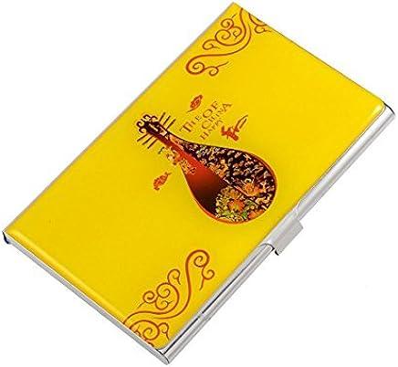 Chinesische Laute Muster Horizontal Kredit Name ID-Kartenhalter-Box, Gelb