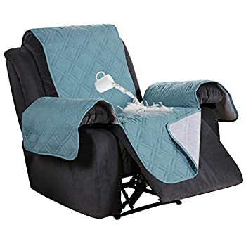 100% Waterproof Recliner Covers for Large Recliner Stay in Place Non Slip Recliner Chair Cover for Leather Waterproof Furniture Cover  Oversize Recliner  SeatWidthUpto 30   Stone Blue