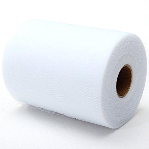 "ROSENICE Tulle Roll Spool DIY Netting Fabric for Wedding Craft Favor Decor 6""x100YD White"