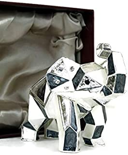 VI N VI White Silver Elephant Jewelry Trinket Box Geometric Origami Animal Décor | Gifts and Souvenirs for Home, Kitchen, ...