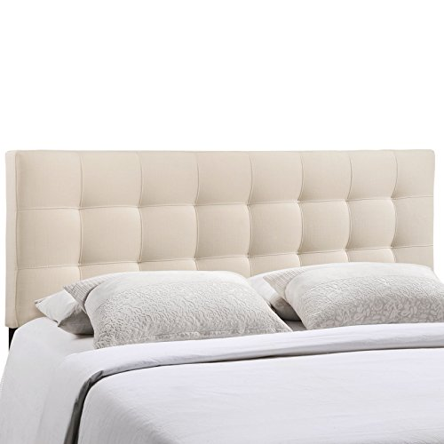 Modway Lily Upholstered Tufted Fabric Headboard Queen Size In Ivory