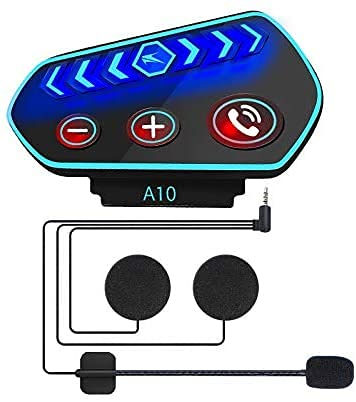OBEST Auriculares Bluetooth para Casco de Motocicleta, con Contestador Manos Libres y Sistema de Voz Inteligente, Adecuados para Montar en Nieve, Modo de Espera a Largo Plazo
