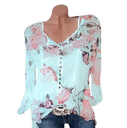Damen Oberteile Langarm V Ausschnitt Übergröße Frauen Pullover Floral Bedruckt Knopf Drucken Langarm Button Oversized Bluse Pullover Tops Shirt TWBB