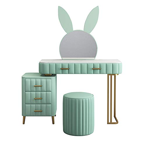 YXF Rabbit Dressing Table with 4 Drawers, 1 Mirror and Stool Vanity Desk, Bedroom Furniture with Glossy Table, Suitable for Girls' Bedrooms