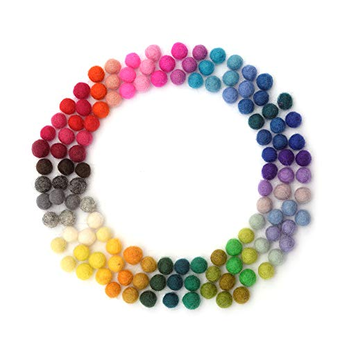 Glaciart One Felt Balls, Felt Wool Balls (120 Pieces) 1 Centimeter - 0.4 Inch, Handmade Felted 40 Color (Red, Pink, Blue, Gray, Black, White, Pastel and More) Bulk Small Puff for Felting and Garland