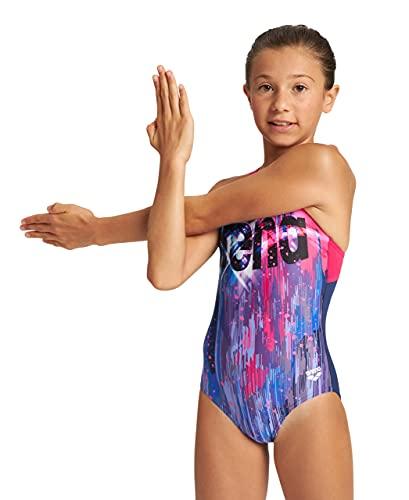 ARENA G Comet Jr Swim PRO Back One Piece Costume Sportivo Bambina Comet, Navy-Freak Rose, 10 Anni