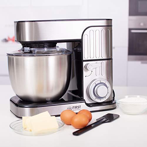 TZS First Austria Professionelle Küchenmaschine | Teigknetmaschine | 1300 W, 5 L Behälter, 6 Geschwindigkeitsstufen, mit Quirl, Knethaken und Schneebesen, Edelstahl