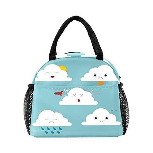 Bolsa de almuerzo para mujeres y hombres, lindas nubes de dibujos animados aisladas reutilizable caja de almuerzo térmica térmica bolsa para el trabajo, picnic, senderismo