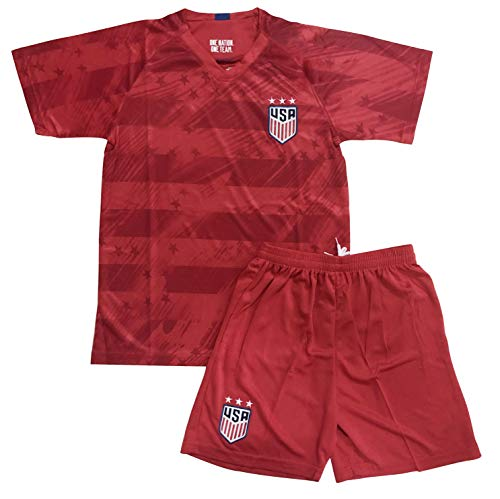 Youths USA Away National Soccer Team Jersey & Shorts (Medium - 7-8 Yrs Old) Red