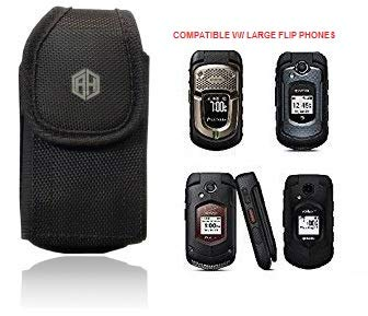 AccessoryHappy Universal Vertical Canvas FLIP Phone Pouch Holster Nylon Belt Case Flip Phone Belt Case Cover Fits Kyocera Cadence LTE, DuraXTP, DuraXV LTE, DuraXV, Doro 7050, Most Large FLIP Phones &