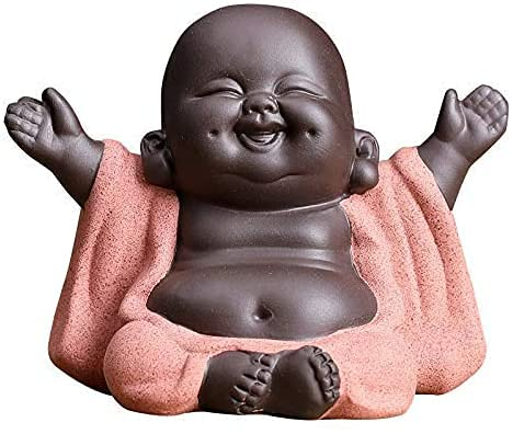 Cute Ceramic Monk Statue Figurine, Little Buddha Figurines Home Decor Creative Baby Crafts Dolls Ornaments Gift Delicate Ceramic Arts and Crafts (Pink)