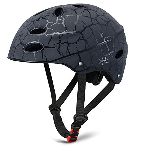 KUYOU Skate Helmet Adjust Size Multi-Impact ABS Shell for Kid Cycling/Skateboarding/Skate Inline Skating/Rollerblading (Black)