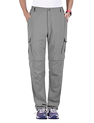 "Nonwe Women's Breathable Convertible Quick Dry Hiking Pants Light Gray M/30.5"" Inseam"