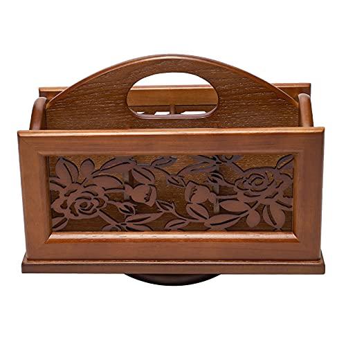 MagiDeal Soporte de Control remoto de madera tallada, caja de Caddy remoto para TV de escritorio giratorio de 360 grados, organizador de mesa para controlador, Rosa